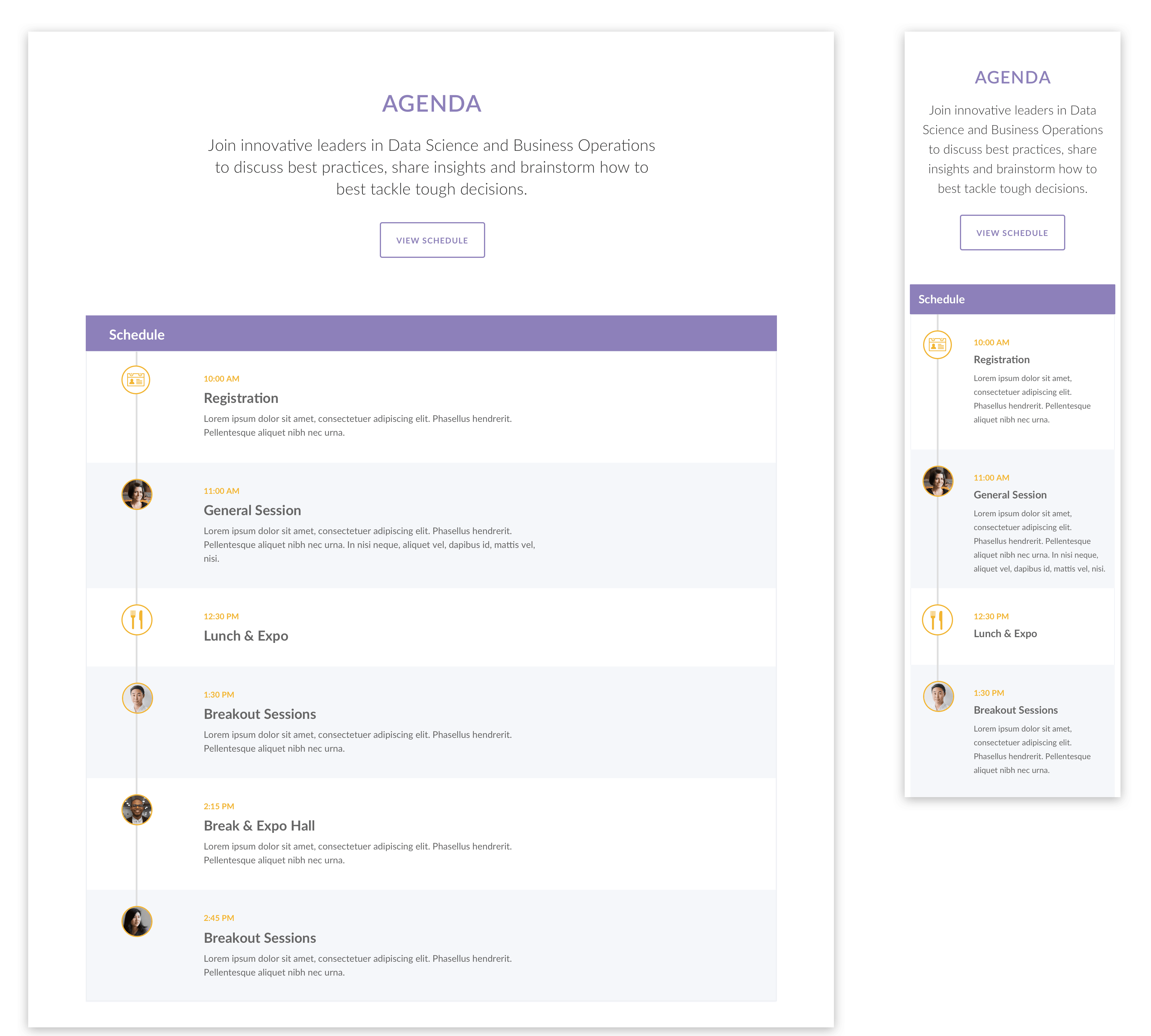 Schedules with icons
